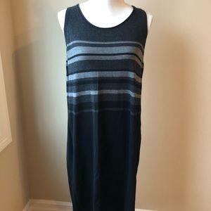 Eileen Fisher black striped merino wool midi dress